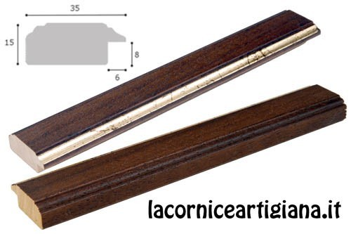 LCA.172 CORNICE 15X22 PIATTINA NOCE FILO ORO CON VETRO