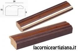 LCA.176 CORNICE 15X22 SAGOMATA NOCE FILO ORO CON VETRO