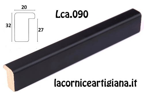 LCA.090 CORNICE 20X25 BATTENTE ALTO NERO OPACO CON VETRO