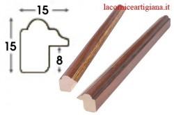 LCA.008 CORNICE 40X40 SAGOMATA NOCE FILO ORO CON VETRO