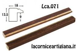 LCA.071 CORNICE 10X10 PIATTINA NOCE FILO ORO CON VETRO