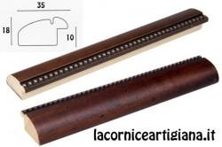 LCA.066 CORNICE 12X12 BOMBERINO NOCE PUNTINI ORO CON VETRO