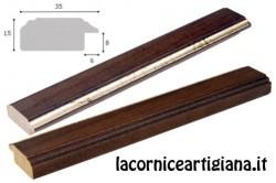 LCA.172 CORNICE 12X12 PIATTINA NOCE FILO ORO CON VETRO
